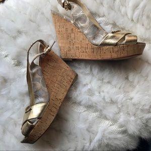 Coach Jessy Gold Metallic Slingback Sandals